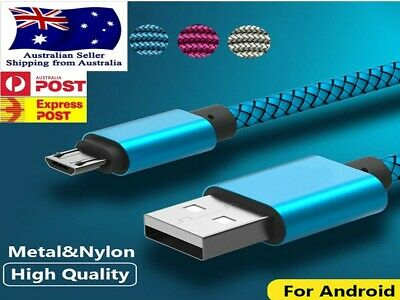 4x Genuine Fast Charge Micro USB Premium Cable Nylon SONY HTC LG Nokia Samsung