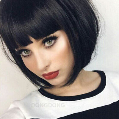 100% Human Hair Wigs Top Natural Short Straight Bob Style Full Wig Natural Color