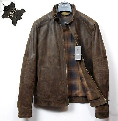M&S Gents REAL LEATHER Padded BIKER JACKET ~ Size Small ~ BROWN (rrp £179)