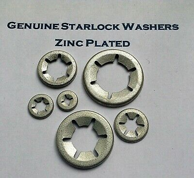 Starlock Washers For Shaft Retaining Push On  Clips Spring Steel   Zinc 3mm-16mm