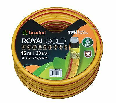 15m Heavy Duty Professional Reinforced Garden Hose Pipe 6 Layers Non Kink YELLOW