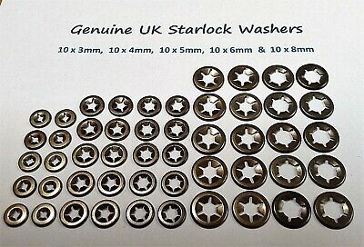 Starlock Washers For Shaft Retaining Push On Star Clips 10 x3,4,5,6&8mm50PCE