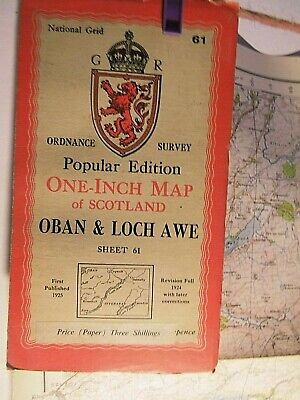 Oban-Loch Awe-Inverary:1925 Pubication: Series 6 Scottish Ordnance Map-Print '46