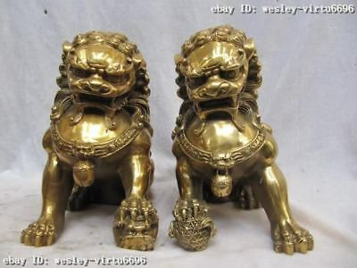Chinese Brass Copper Folk Feng Shui Guardian Evil Bei Jing Fu Foo Dog Lion Pair
