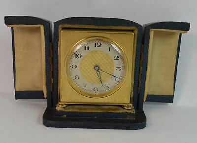 Zenith Watch Co Swiss Made Brass Gilt Travel Clock in Fitted Casing