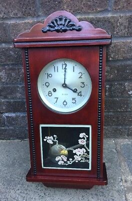 "Vintage POLARIS Wall Clock, 15 day Winding clock Chimes 25"" X 10.5"" W"