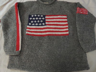 WOOLIES Bulky Cable Knit Pullover USA American Flag 100% Wool Sweater