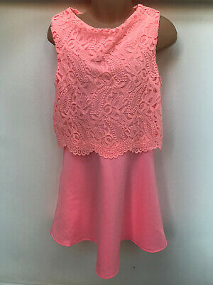 ex RIVER ISLAND Girls Pink Dress with Lace Pattern Top