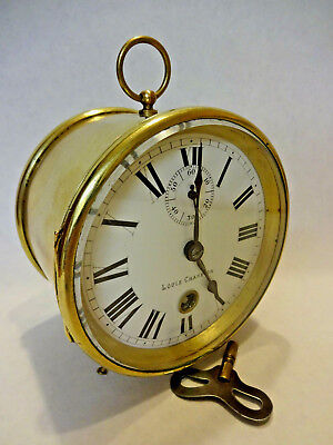"""LOUIS CHAMPION"" BRASS DRUM 8 DAY FRENCH MANTAL CLOCK, c 1890-1900."