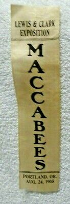 1905 Lewis & Clark Exposition Maccabees Aug 24, 1905 White Lapel Ribbon