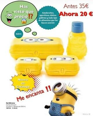 Tupperware OFERTA!!!!! Set Minions 3 cofres y 1 botella 350 ml Tapon boquilla