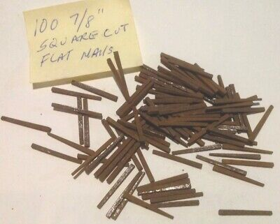 """VINTAGE """"BARN FIND """" 100 (NOS) Rusty 7/8"""" Square Cut Flat Head Nails"""