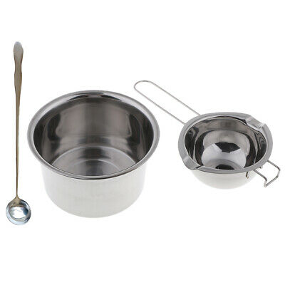 3x Stainless Steel Wax Melting Pot Double Boiler & Long Handle Spoon for DIY