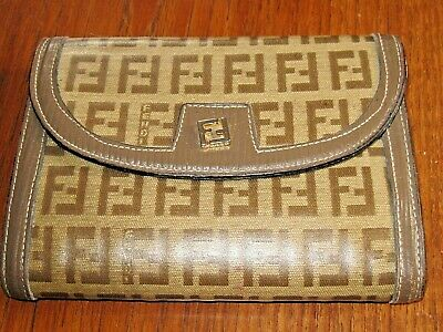 SWEET Authentic Vintage Fendi Roma Italy Zucca Brown Beige Trifold Wallet d81349f0f1eb7