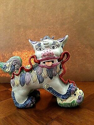 Vintage Chinese Ceramic Guardian Foo Dog Figurine Stamped