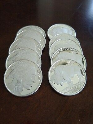 SilverTowne Indian/Buffalo 1oz Silver Rounds Lot Of 10