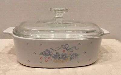 Corning Ware COUNTRY CORNFLOWER A-2-B  2 liter Casserole with Pyrex Glass Lid