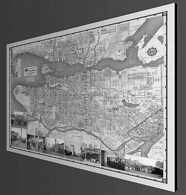 "Vancouver Vintage Map with Vintage Coffee Shops -1951 - Metal Print  - 40"" x 32"""