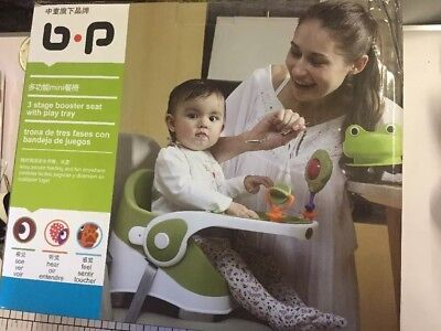 3 STAGE BABY TODDLER BOOSTER SEAT WITH TRAY AND TOYS . Feeding / Play 6mths To 3