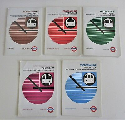Lot of 5 Vintage 1980s Timetables London Underground Central District Victoria