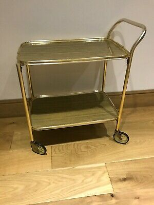 Vintage Retro Two Tier Hostess Tea Trolley Drinks Cocktails Wood Metal Effect