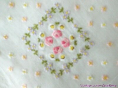 GORGEOUS Embroidered VINTAGE HANKY * Pink ROSES Lavender POSIES & DAISIES * Mint