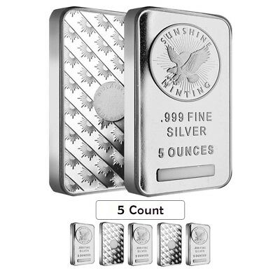 Lot of 5 - 5 oz Silver Sunshine Mint Bar .999 Fine (Sealed)