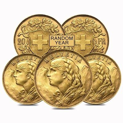 Lot of 5 - 20 Francs Swiss Helvetia Vreneli Gold AU/BU (1897-1949, Random Year)