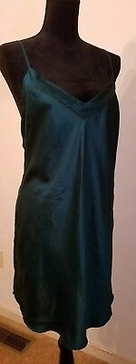 Vtg Romantics by Playboy L Emerald Green 100% Silk Nightie Gown USA Made 80's