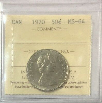 1970 Canada 50 Cents  ICCS Certified MS-64 #35150
