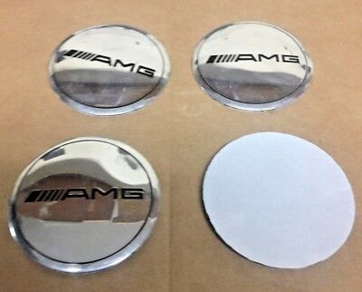 Mercedes Benz AMG Chrome 4x Wheel Centre Cap Sticker Badges 56mm New Style Logo