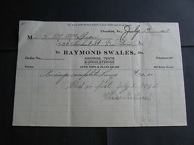 Raymond Swales, Awnings, Tents & Upholstering. Clearfield, Pennsylvania