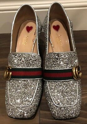 3856f60d081 Gucci Peyton Silver Glitter Marmont GG Gold Loafer Mule Mid Heel Pump 38
