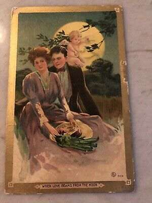 Vintage Romance Postcard - When Love Beams From The Moon