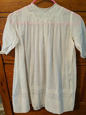 """Antique Vintage Christening Baptism Gown Dress White Embroidery 21"""" Long"""