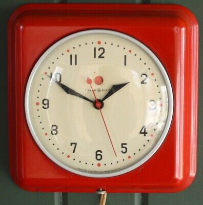 VINTAGE RED KITCHEN GENERAL ELECTRIC Wall Clock Model 2H 08 ...