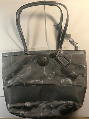 067a1bcdeb Coach F20429 Signature Stripe 3 Color Metallic Tote Bag Purse Grey  Authentic New