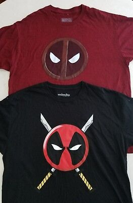 Pair of Marvel Deadpool Graphic Men's XL T-Shirts Black & Red Z9