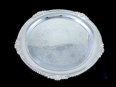 """1940s HENRY BIRKS & SONS Silverplate ROUND SERVING TRAY Shell & Gadroon 12.75"""""""
