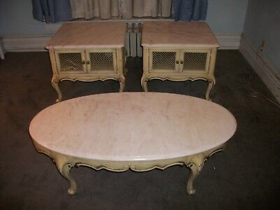 Excellent Vintage Marble Top Coffee Table Two End Tables French Ocoug Best Dining Table And Chair Ideas Images Ocougorg
