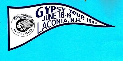 """/""""GYPSY TOUR  LACONIA 1949/"""" Decal Sticker HARLEY DAVIDSON MOTORCYCLE INDIAN ARIEL"""