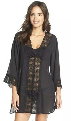 32a50cf545 LA BLANCA SWIM Cover up Tunic Small Womens Black Crochet Trim AA13 ...
