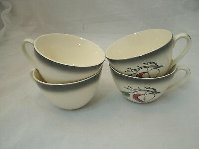 Blue Ridge Southern Potteries FANTASY APPLE 4 Replacement Tea Coffee Cups (Only)