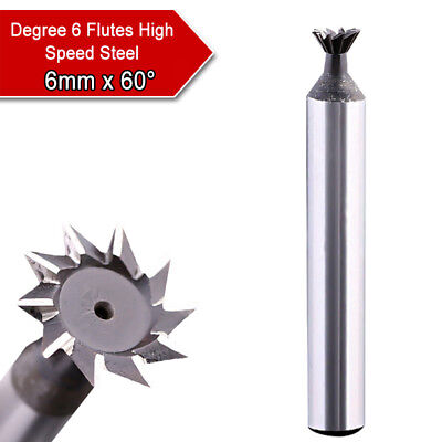 6mm x 60° High Speed Steel Dovetail Cutter End Mill Bit Router Degree 6 Flutes