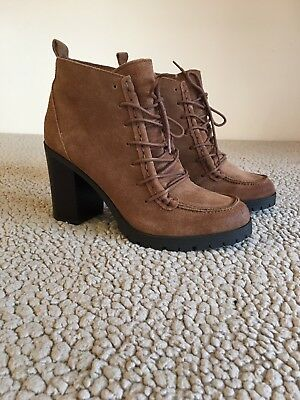 d6e2fd8a5 Circus by Sam Edelman Brown Genuine Suede Lace Up Brown Ankle Booties Size 8