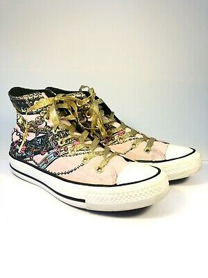 bf6960b88ca7 Converse High Top Chuck Taylor Shoes Women s Size 6 Pink Gold Chains  Sneakers