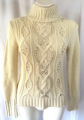 a26dd96b4d Apt.9 Womens sz Small Turtleneck Sweater Ivory L S Cable Knit Sequins  Pullover