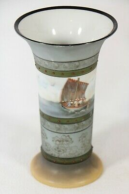 "Antique Royal Bayreuth Bavaria Vase 7"" Seascape Fisherman Boat Moriage c.1900"