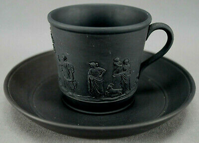 Wedgwood Early to Mid 19th Century Black Basalt Jasperware Coffee Cup & Saucer