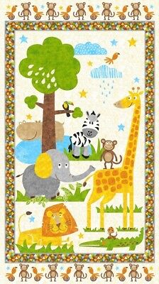 Safari  Expedition Jungle Animals Children's Fabric Panel by Blank Quilting